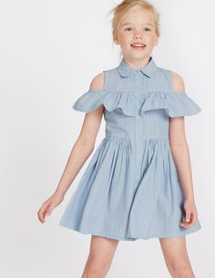 Buy the Striped Pure Cotton Dress 14 Years) from Marks and Spencer's range. Girls Summer Outfits, Little Girl Dresses, Kids Outfits, Girls Dresses, Summer Clothes, Frock Design, Baby Girl Fashion, Kids Fashion, Cotton Dresses