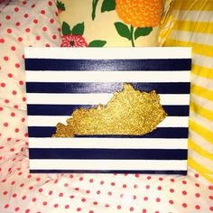 DIY glitter state - Kentucky and nautical stripes