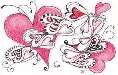 kaart 61 - valentine - by JeAnToin Valentine Stuff, Zen Doodle, Zentangle, Journal, Cards, Zentangle Patterns, Maps, Zentangles, Playing Cards