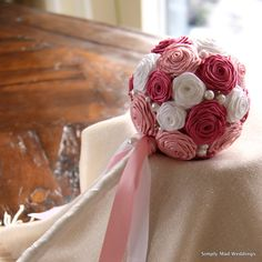 Keepsake Rose Bouquet / Pink and White Bridal by SimplyMadWeddings, $110.00