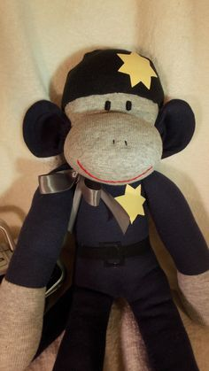 Handmade Sock Monkey, Police Sock Monkey, Thin Blue Line, New Darker Blue, Limited Edition, Personalized, Toy Doll