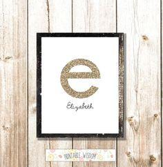 Nursery Letter Art Print Baby Girl, Wall Decor, Nursery monogram glitter, Printable Initial, digital. $5.00, via Etsy.