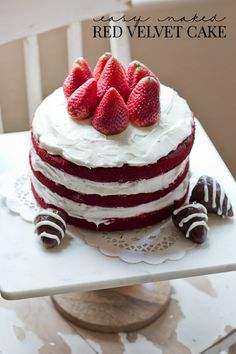Easy Naked Red Velvet Cake - delicious, easy and gorgeous cake that's perfect for your Valentines festivities!