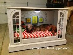 Diy Furniture : TV console repurposed into pet bed Dog Furniture, Repurposed Furniture, Furniture Ideas, Furniture Websites, Furniture Market, Furniture Stores, Table Furniture, Painted Furniture, Furniture Design