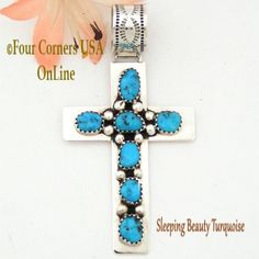 Four Corners USA Online - Nugget Sleeping Beauty Turquoise Sterling Cross Jewelry Native American Tiffany Smith NACR-1406, $110.00 (http://stores.fourcornersusaonline.com/nugget-sleeping-beauty-turquoise-sterling-cross-jewelry-native-american-tiffany-smith-nacr-1406/)