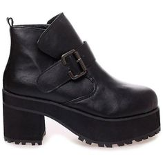New Womens Shoes Chunky Mid High Heels Platform Buckle Faux Leather... ❤ liked on Polyvore