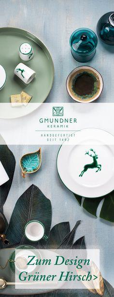 """Entdecke hier das Sortiment vom Design """"Grüner Hirsch"""" Handgefertigt seit 1492 Plates, Tableware, Design, Handmade, Licence Plates, Plate, Dinnerware, Dishes, Dish"""