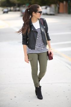 ROMWE striped tee 2020AVE booties EXPRESS cargo pants DANIELLE NICOLE burgundy bag ZEROUV cat-eye sunglasses FOREVER 21 faux Leather jack