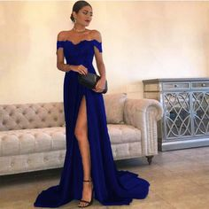 A-line Off the Shoulder Sweetheart Sexy Long Satin Prom Dresses Lace Applique Evening Gowns with Split