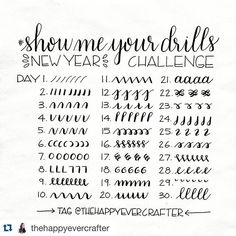 I want to learn handlettering this year and I don't think there is a better way to start than #showmeyourdrills @thehappyevercrafter  #handlettering #brushletteringchallenge #brushcalligraphy #mynewlife #creativity