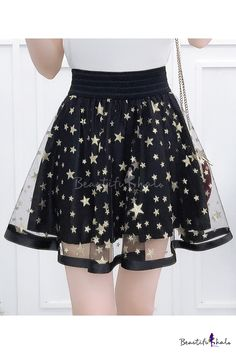Star Printed Mesh Insert High Waist Mini A-Line Skirt, Fashion Style Skirts Girls Fashion Clothes, Teen Fashion Outfits, Mode Outfits, Girl Outfits, Fashion Dresses, Preteen Girls Fashion, Kawaii Fashion, Cute Fashion, Girl Fashion