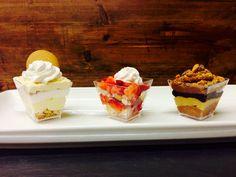 Petite Trifle Flight- Banana Pudding, Strawberry Shortcake, Peanut Butter & Chocolate Mousse