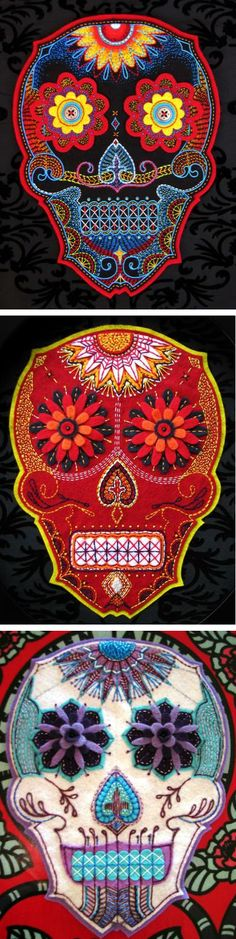 South African artist Nicola De Jager creates these intricatehand embroidered Calaveras. Beautiful!