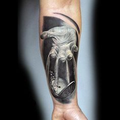 Black And White Tattoo Of Hand Pouring