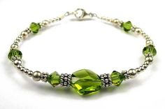 Dk. August Peridot (Olivine) - August Birthstone Sterling Silver Swarovski Crystal Handmade Beaded Bracelets - LARGE 8 In. Damali. $59.95