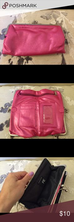 Pink clutch wallet Pretty pink clutch. Only used a few times. Great condition. Also on Ⓜ️ercari Bags Clutches & Wristlets