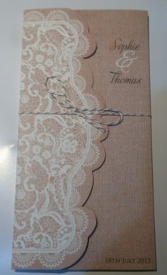 Perfect for a country vintage wedding Sophie Thomas, Hessian, Vintage Country, Wedding Invitation Design, Lace Design, Stationery, Create, Prints, Handmade