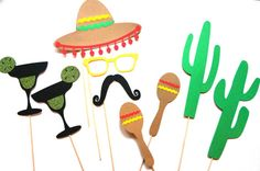 Cinco de Mayo Photo Booth Props - 9 piece prop set with GLITTER - Mexican Photobooth Props