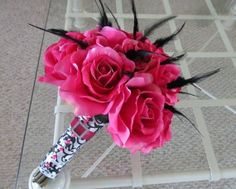Fuschia rose wedding bouquet with feathers by MyFavorsandFlowers, $95.00