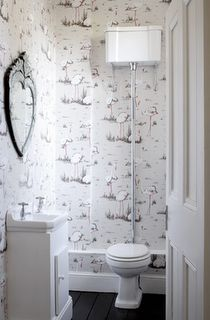 Wallpaper in the downstairs loo and loo style Bathroom Sink Decor, Shiplap Bathroom, Bathroom Plans, Guest Bathrooms, Tiny House Bathroom, Bathroom Trends, Bathroom Interior Design, Bathroom Organization, Bathroom Renovations