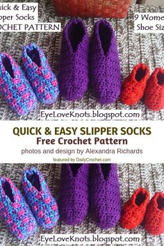 [Free Pattern] The Easiest Crochet Slippers You Will Ever Make - Knit And Crochet Daily This easy crochet slippers pattern creates a nice and stretchy pair of slippers that are perfect for kids and adults alike. 9 different sizes are available. Easy Crochet Slippers, Knit Slippers Free Pattern, Crochet Boots, Free Crochet Slipper Patterns, Knitted Slippers, Fast Crochet, Crochet For Kids, Crochet Baby, Crochet Afghans