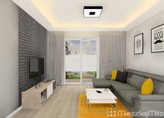 szara cegła Condo Design, Living Room Kitchen, Flat Screen, Home, Decor, Living Room, Blood Plasma, Decoration, Kitchen Living
