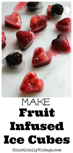 Make Valentine Fruit Infused Ice Cubes eclecticallyvintage.com