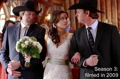 Heartland: Lou's wedding dress with a different colored sash
