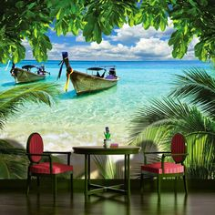 New bedroom wallpaper beach wall murals 39 Ideas Bedroom Wallpaper Beach, Design Living Room Wallpaper, 3d Nature Wallpaper, 3d Wallpaper Design, Photo Wallpaper, Designer Wallpaper, Wallpaper Murals, Bedroom Beach, Beach Wall Murals