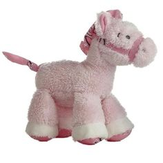 "7"" Aurora Baby Plush Lil' Howdy's Pink Horse Rattle Stuffed Animal Toy"