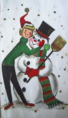 Old Christmas Post Сards — Vintage  'Christmas Lady & Snowman'   (459x800)