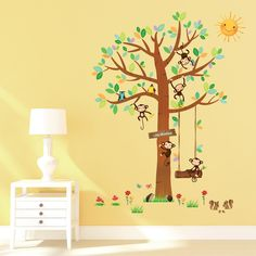 Inspirational Decowall Kleine Affen Baum Wandsticker Wandaufkleber Wandtattoo Kinderzimmer