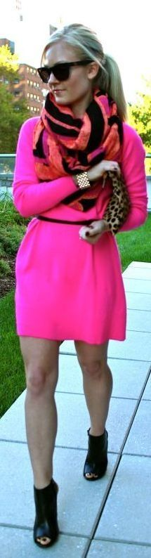 Neon pink casual dress