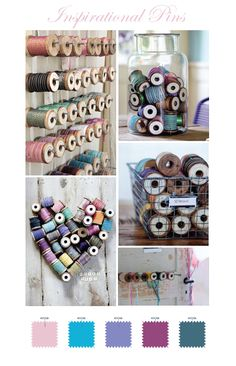Spools of thread or baker's twine....especially love the idea of rows of nails (maybe on some beadboard) to display...