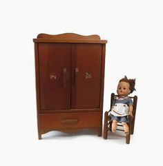 Vintage Wooden Doll Armoire Toy Wardrobe by MomsantiquesNthings
