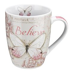 "Botanic Butterfly Blessings Pink ""Believe"" Mug - Mark 9:23 - Cool Kitchen Gifts"