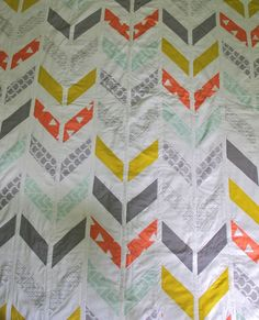 twin herringbone and triangle quilt by iviebaby on Etsy