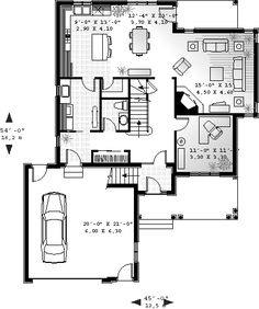 First Floor Plan of Traditional   House Plan 65474