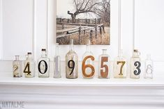 I LOVE collecting old glass bottles. I started collecting old house numbers as well, and the two just naturally merged together in my home. Now I have a fun display on my fireplace mantle. #Diy, #Glass #Do-It-YourselfIdeas, #RecycledGlass Colored Glass Bottles, Recycled Glass Bottles, Glass Bottle Crafts, Old Bottles, Antique Bottles, Vintage Bottles, Glass Jars, Bottle Art, Cut Glass
