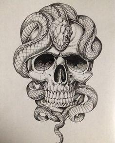 And Snake Tattoo Tattoos Piercings Jetzt kaufen! Snake Tattoos … And Snake Tattoo Tattoos Piercings Get it now! Skull Tattoo Design, Skull Tattoos, Body Art Tattoos, Sleeve Tattoos, Tattoo Designs, Tatoos, Men Tattoos, Skull Design, Diy Tattoo