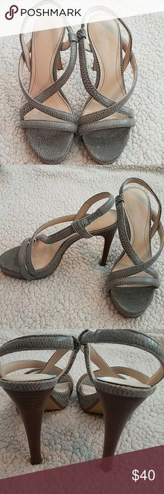 """Calvin Klein Prarie Gray High Heel Sandal Size 7 EUC.. not much wear on these beautiful snake skin  embossed leather sandals....in prefect condition no scuffs.   4 1/2"""" heel 3/4"""" platform  *Pet and smoke-free home! I often adjust my price during Posh parties and promos, keep an eye out!! Offers welcomed! Calvin Klein Shoes Sandals"""