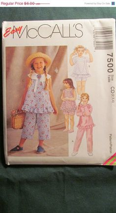 SALE Uncut McCall's Sewing Pattern 7500 234 by EarthToMarrs, $4.20