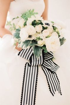 How gorgeous is this striped bouquet ribbon?! Photography : Ruth Eileen Photography Read More on SMP: http://www.stylemepretty.com/2016/02/04/elegant-organic-bee-in-love-wedding-inspiration/: