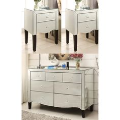 MONACO Mirrored Bedside Tables and Wide Chest Bedroom Package