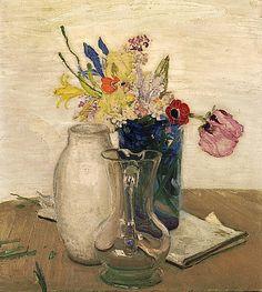 William Nicholson / Flowers and Glass Jug, 1935