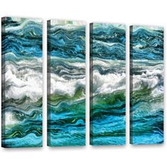 ArtWall Kevin Calkins Cresting Waves 3.0 inch 4-Piece Gallery-Wrapped Canvas Set, Size: 36 x 48, White