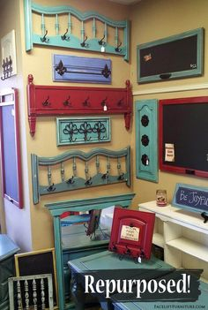 Head and footboards repurposed in to coat racks, and cabinet doors repurposed into chalk boards! From #facelift Furntiure's DIY Blog