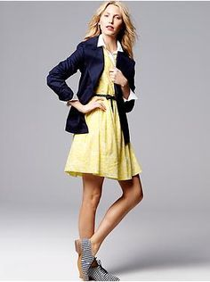 Women's Clothing: Women's Clothing: Featured Outfits New Arrivals   Gap - navy blazer; flared shirtdress in yellow; dress shirt; oxfords