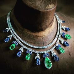 Emerald, sapphire and diamond necklace