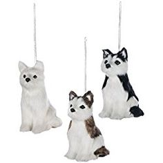 siberian husky christmas ornament puppy pals assorted set of 3 pinecone ornaments dog ornaments - Husky Christmas Decoration
